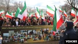 تجمع گروهی از ایرانی-آمریکاییها در اعتراض به حکومت ایران
